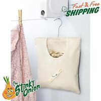 Vintage Clothes Pin Bag Canvas Pins Holder