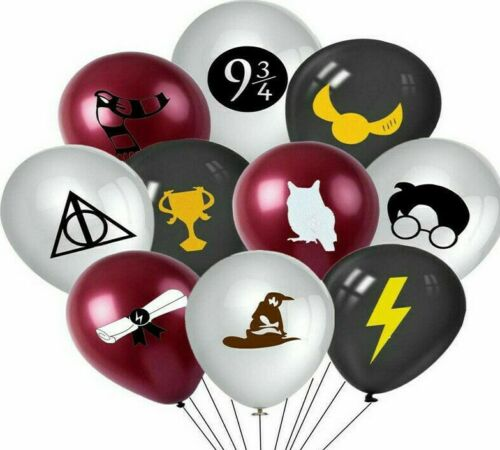 "10 x Harry Potter Black Grey Latex Balloons Happy Birthday Party Decoration 12/"""