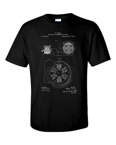 Nikola Tesla transmission électrique brevet Blueprint physique invention T-Shirt