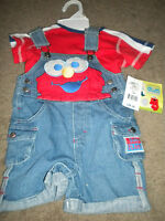 Sesame Street Blue Denim Overalls Elmo Applique With Red T-shirt 3-6 Mo