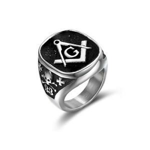 d568cfd76b09f Details about Number 33 Masonic Rings Stainless Steel A G Free-Mason Rings  Men Women Jewelry