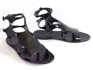 41c0915dd03  940 TOM FORD Black PATENT Leather GLADIATOR Flat Sandals 37 US-7 38 ...