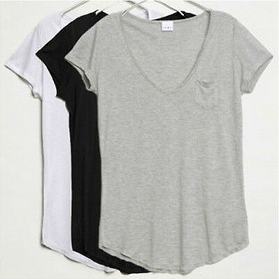Lackingone New V-Neck Short Sleeve Loose Modal Trend T-shirt Blouse Tops 3Colors