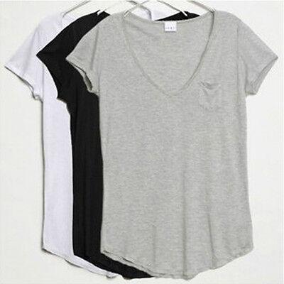 Lackingone New V-Neck Short Sleeve Loose Modal Trend T-shirt Blouse Tops 3Colors
