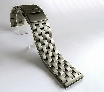 22mm HEAVY SOLID GREY BRUSHED STAINLESS STEEL WATCH BAND,BRACELET DOUBLE LOCK