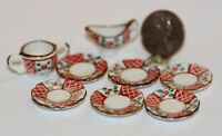 Dollhouse Miniature 8 Piece Ceramic Place Setting In Red & Green