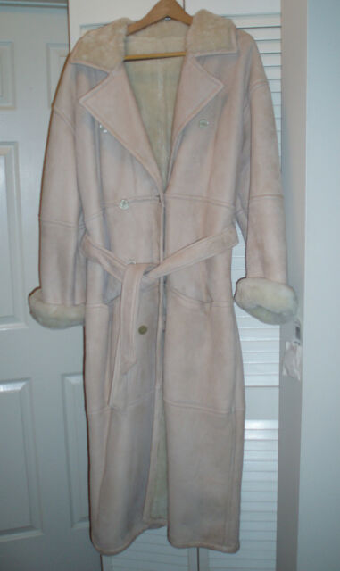 Liz Claiborne Sheepskin Shearling Leather Suede Fur Full Length Coat Size 6 NWT