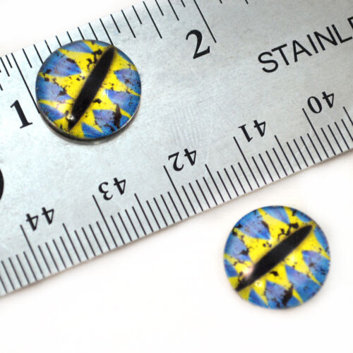 14mm Blue and Yellow Dragon Glass Eyes for Sculptures Jewelry Making Taxidermy
