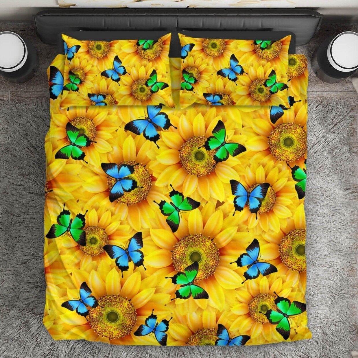 Sunflowers & Butterflies Bedding Duvet Cover King, Queen, Twin, Single Größe