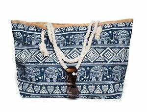 XXL-Damentasche-Strandtasche-Sommertasche-Badetasche-Elefant-Dunkelblau-Urlaub