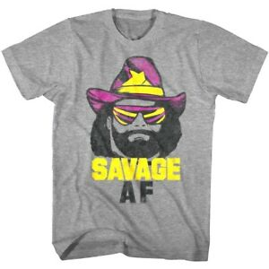 Macho-Man-Randy-Savage-AF-Hat-Men-039-s-T-Shirt-Wrestling-Legend-WWE-Champion-Gray