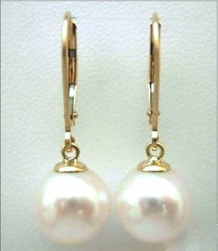 new natural 12-11MM AAA  south sea white pearl earrings 14K  GOLD