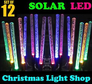 Solar Led Christmas Lights.12 Solar Led Bubble Tube Garden Path Colour Change Outdoor