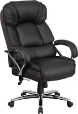 Big Amp Tall 500 Lbs Capacity Black Leather Executive Office Chair Extra Wide Seat