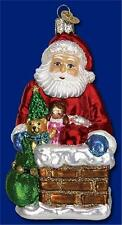 DOWN THE CHIMNEY OLD WORLD CHRISTMAS BLOWN GLASS SANTA CLAUS ORNAMENT NWT 40228
