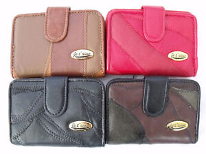 LADIES HIGH QUALITY SOFT REAL PATCHWORK LEATHER PURSE COIN POUCH CREDIT CARD