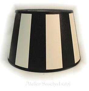 zeitlos klassischer lampenschirm schwarz wei gestreift landhaus 20cm neu ebay. Black Bedroom Furniture Sets. Home Design Ideas