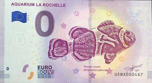 BILLET-0-EURO-AQUARIUM-DE-LA-ROCHELLE-FRANCE-2019-4-NUMERO-DIVERS