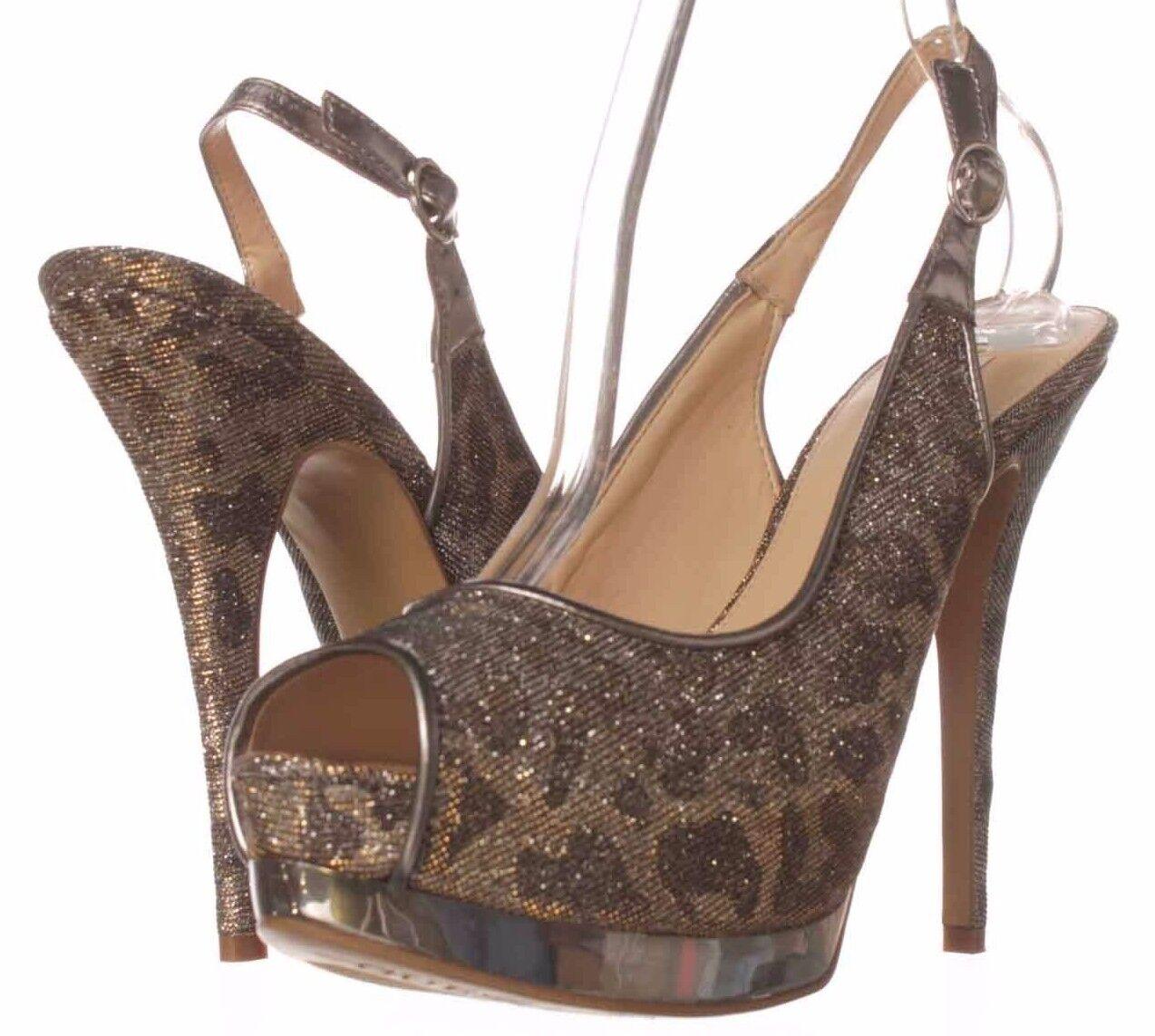 GUESS Glenisa Silver Glitter Fabric Leopard Platform Slingback Schuhes, 7.5M 9
