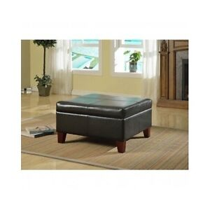 large storage ottoman table black faux leather organizer