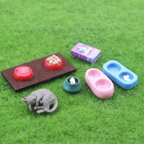 """Casa de muñecas en miniatura /""""modelo de escena Casa de Muñecas Accesorios Mini Gato Perro Comida cuencas"""