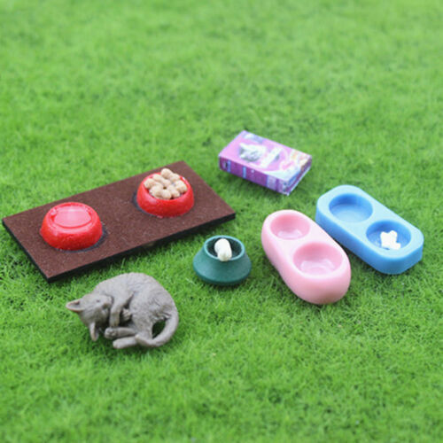 Dollhouse miniature scene model doll house accessories mini cat dog food basinLE