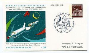 1969 Hermann Oberth Gesellschaft Weltraums Cuxhaven 1 Drucksache Bausteinkarte50 50% De RéDuction