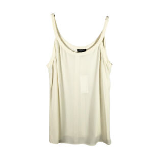 Eileen Fisher 100% Silk Georgette Crepe Tank Top Size S Ivory Scoop Neck NEW!!