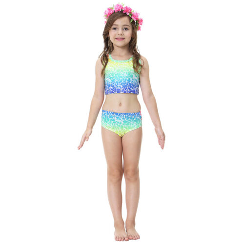 3pcs Fairy Tale Kid Girl Mermaid Tail Swimming Bikini Set Swimwear Costume Nylon
