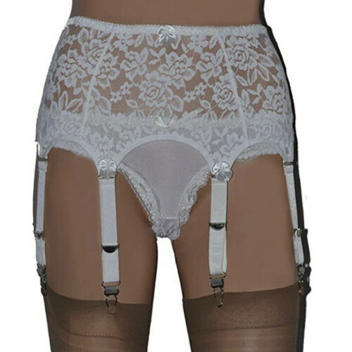 Lace Nylon Women Garter Belts 6 Straps Suspender With Metal Buckles S-XXLRSFD