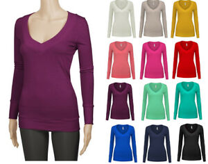 Women-039-s-Basic-Soft-Cotton-Stretch-Long-Sleeve-V-Neck-T-Shirt-Top-Solid-Colors