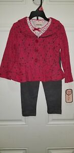 c6abae15de9e1 Little Lass Pink Lace Fitted Jacket Gray & Pants Outfit Sz 3T NWT | eBay