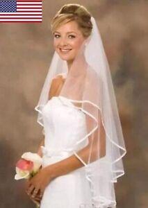 2T-Wedding-Bridal-Veil-White-Ivory-Fingertip-Length-White-Edge-Veil-Comb
