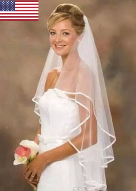 New 2T White Ivory Wedding Fingertip Length Bridal Veil Comb Beads /& Crystals