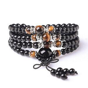 6mm 108 Tiger-eye Buddhist obsidian Prayer Beads Mala stone Bracelet & Necklace