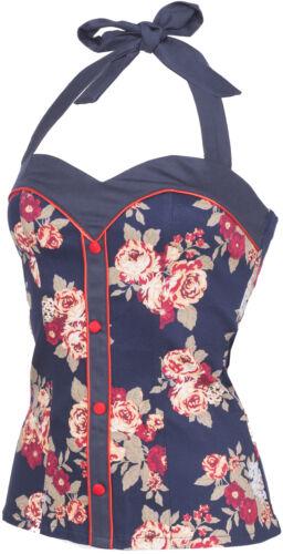 Küstenluder ABBIE Vintage Floral ROSES Retro Pin Up Neckholder TOP Rockabilly