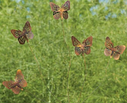 Butterfly Flutterer Metal Garden Stake Copper Finish Butterflies Yard Art
