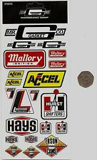 SHEET OF 21  MINI RACING STICKERS / DECALS - MALLORY, MR GASKET, HURST, HAYS +