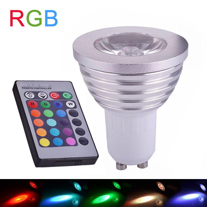 gu10 rgb 16 farbige dimmbare led birne spot lampe leucht mit fernbedienung neu ebay. Black Bedroom Furniture Sets. Home Design Ideas