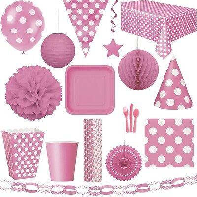 Rosa Punkte Party Geburtstag Dekoration Kindergeburtstag Deko pink Kinderparty