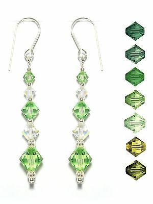 Green Crystal AB Elegant Long Earrings made with SWAROVSKI ELEMENTS l