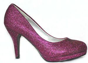 New Purple Glitter Platform Heels Wedding Evening Prom Party Shoes ...