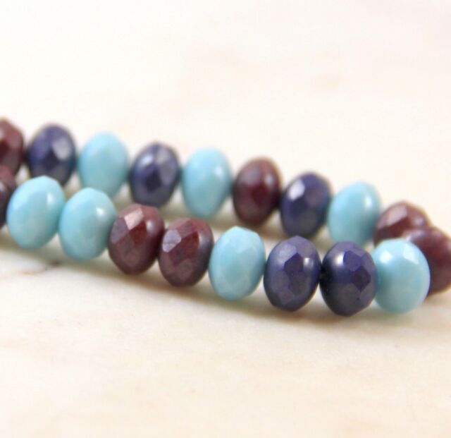 Opaque Amethyst 8x6mm 25 Czech Glass Faceted Rondelle Beads