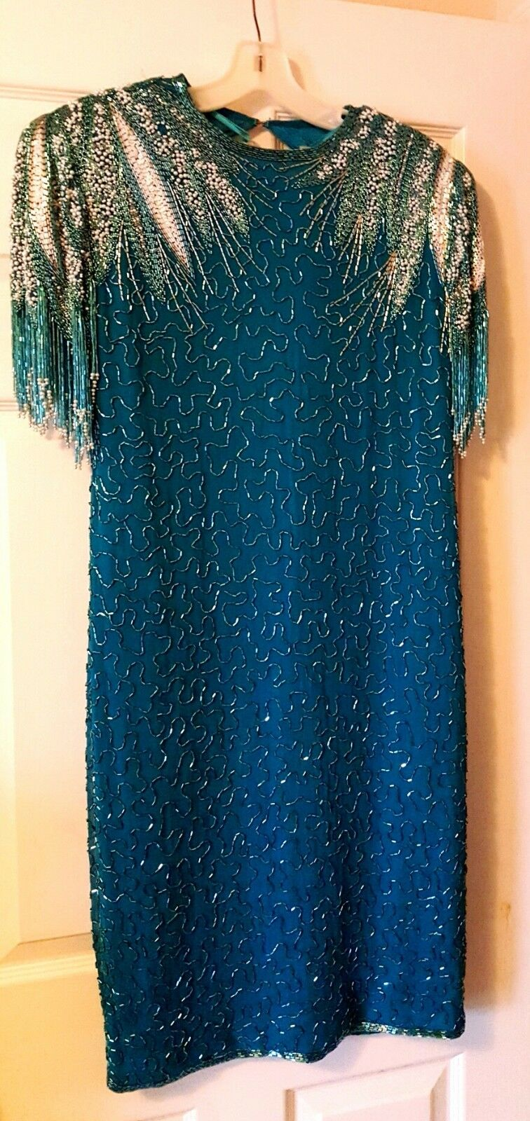 A.J.BARI OR ROYAL THE 1 EAST COLLECT SILK LUXURY BEADED SEQUINED EVENING DRESS