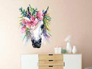 Details zu Wandtattoo Einhorn weiß Blumen Kinderzimmer Mädchen Geschenk  Geburtstag Wanddeko