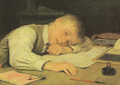 Albert Anker Postkarte Knabe auf dem Schulheft eingeschlafen 1895