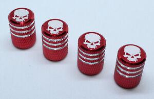 Pack of 4 Red Custom Aluminium Valve Caps Dust Caps with Skull Brand New