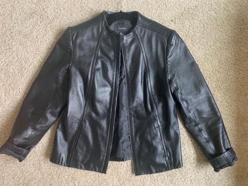 Vintage 1990/'s ALFANI Lizard Print Leather Shirt Jacket Medium Ladies Taupe Leather Button Down Shirt