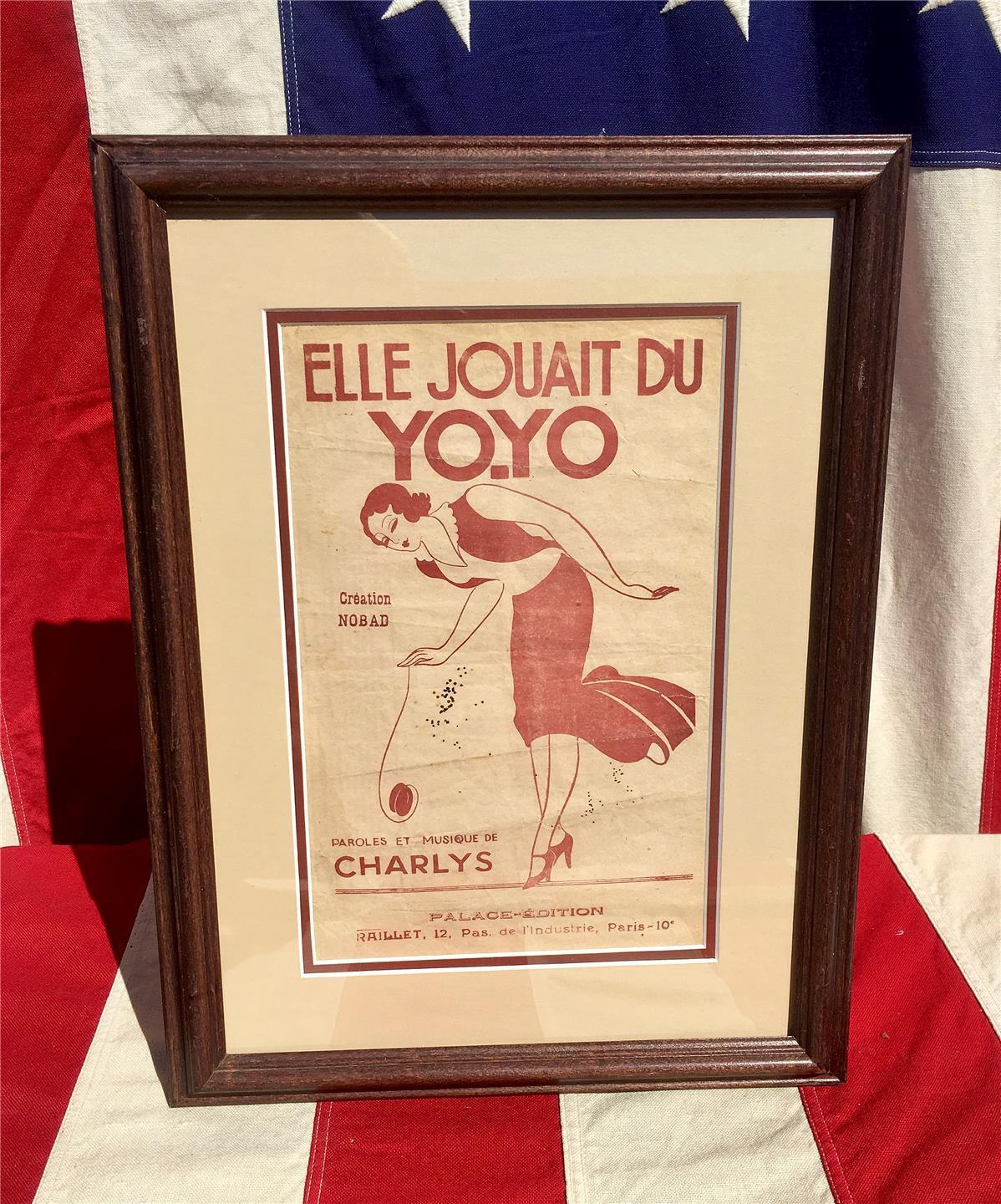 Vintage Antique Elle Jouait Du YO-YO Sheet Music Book French Framed Great Cover