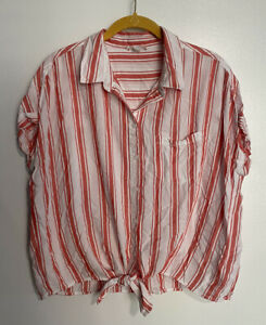 Beach-Lunch-Lounge-Button-Down-Shirt-Short-Sleeve-Red-Striped-Tie-Front-Large